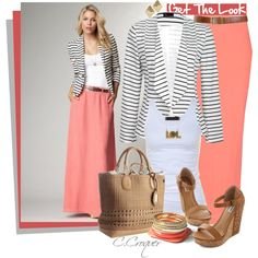Coral & Striped Blazer by ccroquer on Polyvore featuring Tusnelda Bloch, Ally Fashion, ONLY, Topshop, Mint, Prada and Gucci