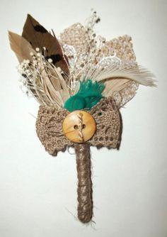Mens Boutonniere Burlap Lace Feather Accent Color by kathyjohnson3, $15.00