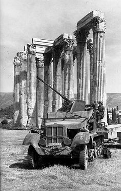 Germany invaded Greece on April This is a May 1941 military archival photo of a halftrack (probably a SdKfz with an anti-aircraft gun parked incongruously amidst the grandeur of ancient ruins at the Temple of Zeus in Athens, Greek History, World History, World War Ii, Military Photos, Military History, Ww2 Photos, Ww2 Pictures, Ancient Ruins, German Army