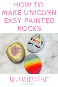 Looking for easy painted rocks craft? these easy rock painting ideas are great for kids too! find out how to paint rocks of magical unicorn and rainbow now. Craft Projects For Kids, Adult Crafts, Fun Crafts For Kids, Diy For Kids, Diy Projects, Craft Ideas, Family Crafts, Kid Crafts, Rock Painting Ideas Easy