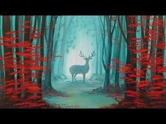 Easy Beginner Tutorial Autumn Forest Landscape with Deer Silhouette Acrylic Painting LIVE - YouTube