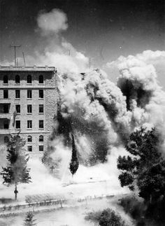 A general view of the King David hotel, Palestine, as sappers set off a charge to explode away from the main part of the hotel, while carrying out demolition work, July 29, 1946 – a week after the Jew terrorists bomb outrage.
