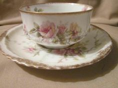 large tea cups and saucers | Haviland Limoges Tea Cup and Saucer Large Cluster of Roses