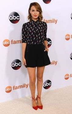 Camilla Luddington in Saint Laurent lipstick print blouse and Derek Lam shorts - Disney ABC Television Group's 2015 Summer TCA Press Tour Photocall