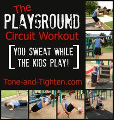 The Playground Circuit Workout from Tone-and-Tighten.com. Get your workout on while your kids play! #familyfitness #workout #fitness