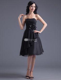 A-line Black Chiffon Floral Strapless Knee-Length Fashion Bridesmaid Dress. A-line Black Chiffon Floral Strapless Knee-Length Fashion Bridesmaid Dress. See More Bridesmaid Dresses at http://www.ourgreatshop.com/Bridesmaid-Dresses-C926.aspx