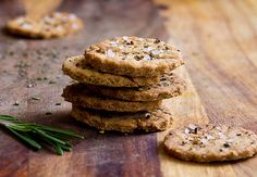 Rosemary Olive Oil & Garlic Crackers:  1C whole wheat flour (or mix w/white), 1tsp Bake powder, 1/2 tsp Salt, 1-2tsp fresh rosemary, chop, 1-2 tsp Garlic Powder, 1/2tsp Pepper, 1/4Cup Olive Oil, 3-4TBL Water, Coarse Sea Salt/ Fresh Cracked Pepper for sprinkling.