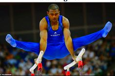 101a: This picture shows an American gymnast competing. He is photographed at his strongest. The full focus is on his entire body and the country he is representing is clearly visible by the uniform. The news outlet has framed the photo to promote an athlete from its own country.