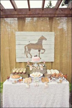 Horse Party Ideas for a Horse Pony Themed Birthday Party Old boxes on table