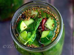 Half Sour Pickles: pickling cucumber, water, kosher or canning salt, clove garlic, fresh dill, pickling spice