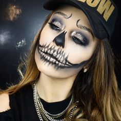 Gold glam Skull Halloween makeup by Erica Gamby | tutorial on YouTube
