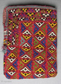 D_11 Turkmen Embroidered Bag, 6.5 x 5 inches, Silk embroidery on cotton,  original tassel cord