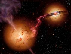 A truly colossal and cataclysmic image:  two super massive black holes spiraling toward collision!