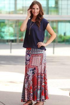 Patchwork Midi Skirt