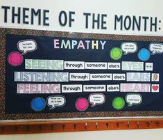 New month, new bulletin board theme: Empathy 😊 Anyone else do school wide PBIS themes? Square shaped 👀, 👂and ❤ from Whole Body Listening pack. Smilies and speech bubble clipart from Counselor Bulletin Boards, Office Bulletin Boards, Elementary Bulletin Boards, Guidance Bulletin Boards, Behavior Bulletin Boards, Character Bulletin Boards, Health Bulletin Boards, Kindness Bulletin Board, School Counseling Office