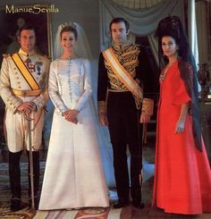 Alfonso, Duke of Anjou and Cádiz and his bride, Maria del Carmen Martinez-Bordiu y Franco on their wedding day, 8 March 1972.