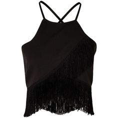 WRAP FRONT FRINGE DETAIL CROP TOP BLACK (265 HRK) ❤ liked on Polyvore featuring tops, shirts, crop tops, tank tops, wrap crop top, beach shirts, camisole tops, cami crop top and strap crop top