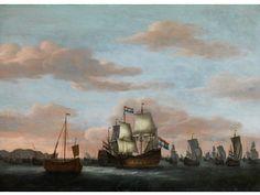 MEERESANSICHT MIT ADMIRALSSCHIFFEN UND BOOTEN Öl auf Holz. 62 x 84 cm. Beigegeben eine Expertise von Dr. Giancarlo Sestieri. Willem van de Velde d.J. war...