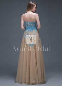 [105.99] Amazing Tulle & Organza Sweetheart Neckline Full-length A-line Prom Dresses - adasbridal.com