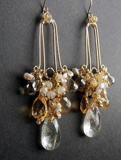 Statement Gold Gemstone Chandelier Earrings by DoolittleJewelry, $255.00