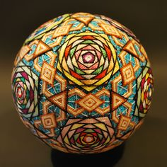 "These intricate and extraordinarily beautiful embroidered silk balls are a form of Japanese folk art called Temari, which means ""hand ball"" in Japanese. These particular temari are even more impressive because they were handmade by a grandmother in Japan. Japanese Toys, Japanese Art, Traditional Japanese, Japanese Colors, Japanese Textiles, Japanese Design, Arte Linear, Temari Patterns, Thread Art"