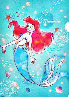Beautiful Ariel artwork from Disney Store Japan. Walt Disney, Disney Magic, Ariel Mermaid, Ariel The Little Mermaid, Disney And More, Disney Love, Disney And Dreamworks, Disney Pixar, Ariel Wallpaper