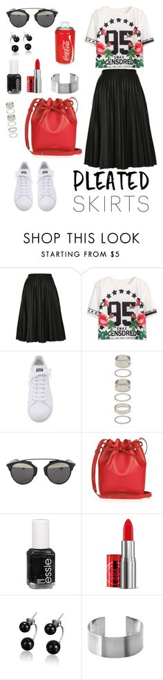 """Untitled #236"" by fradoria ❤ liked on Polyvore featuring Topshop, adidas, Forever 21, Christian Dior, Mansur Gavriel, Essie, The Body Shop, Koolatron and pleatedskirts"