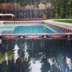 pool lined with Kismet tile Stock Tank Pool, Pool Designs, West Hollywood, Architecture Details, Swimming Pools, Angels, Backyard, Exterior, Tile