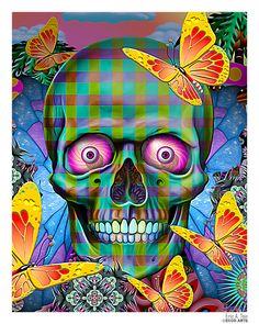 Butterfly Garden Skull by *Eccoton