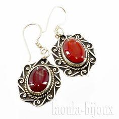 Boucles d'oreilles orientales en agate rouge ASRI 7-  Bijoux Toulouse