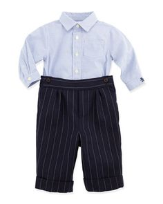 Check Shirt & Striped Woven Pants Set by Ralph Lauren at Neiman Marcus.