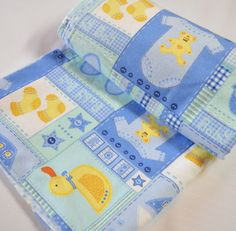 Handmade Rubber Duckies Print Blue Baby Blanket Quilted with Polka Dot | GracefulArts - Children's on ArtFire