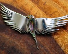 SALE! Sterling and abalone Los Castillo parrot pin from Taxco, Mexico