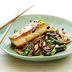 Soba Noodles with Miso-Glazed Tofu and Vegetables Recipe Main Dishes with canola oil, rice vinegar, white miso, ginger, minced garlic, lower sodium soy sauce, sugar, dark sesame oil, soba noodles, extra firm tofu, shiitake, asparagus, sliced green onions