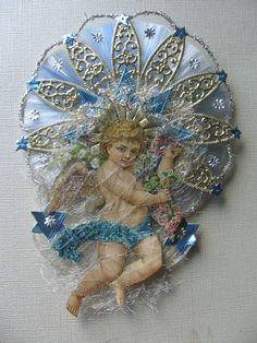 Vintage Look Victorian Christmas Ornament- German Scrap Angel, German Dresdens, Roping Tinsel, Spun Glass Halo, Angel Hair Tinsel. $24.00, via Etsy.