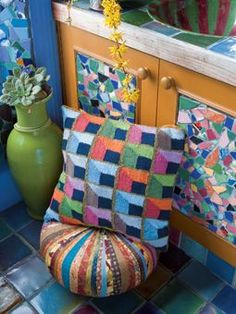 Shadowbox Cushion, by Kaffe Fassett and Brandon Mably for Rowan Yarns