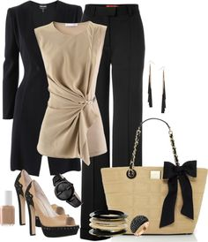 """Classic Beige & Black"" by ccroquer on Polyvore"