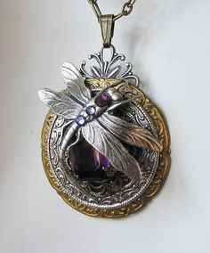Amethyst Dragonfly Steampunk Necklace      From steamheat