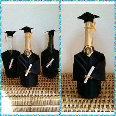 Graduation Cap and Gown Champagne Bottle Cover w/ Tassel and.- Graduation Cap and Gown Champagne Bottle Cover w/ Tassel and Diploma Abi 1 - Graduation Desserts, Graduation Cap And Gown, Graduation Party Planning, College Graduation Parties, College Graduation Gifts, Graduation Decorations, Grad Gifts, Grad Parties, Graduation Tassel