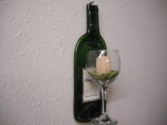 Slumped Wine Bottle with Wine Glass Votive Candle Holder.