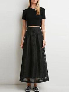 Black Sheer Mesh Striped Long Skirt | Irisie