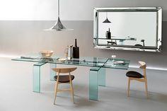Table à rallonge Gauss / L 180 à 284 cm Transparent / Barre aluminium - FIAM