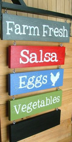 Your own custom farm stand sign: farmers' market by greenchickens Farmers Market Signage, Farmers Market Display, Market Displays, Produce Market, Muebles Shabby Chic, Vegetable Stand, Produce Stand, Farm Business, Farm Store