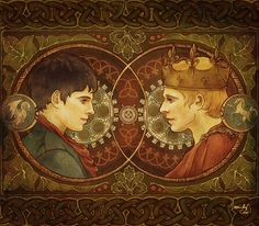 Two Sides Of the Same Coin by AlexandarCho<< I like how Merlin has a Dragon and Arthur has a Unicorn Bbc, Merlin Fandom, Merlin Colin Morgan, Merlin And Arthur, King Arthur, Merlin Cast, Superwholock, Supernatural, Medieval