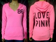 Last one in stock! 99 cent #auction Victoria's Secret PINK Hoodie Large Pullover Neon Bubblegum T...