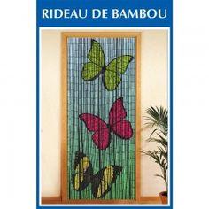 Rideau de porte bambou - 3 papillons