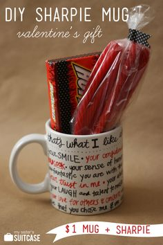DIY Sharpie Mug Valentine Gift I read use an OIL BASED SHARPIE so it won't wash off in the dishwasher. this is a pretty adorable idea.