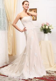 Delicate A-Line/Princess Sweetheart Strapless Chapel Train Lace Satin Wedding Dress with Embroidery Beadwork http://www.chouchoudress.com/product/delicate-a-line-princess-sweetheart-strapless-chapel-train-lace-satin-wedding-dress-with-embroidery-beadwork.html