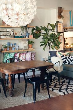 This is Gather: Coworking/Coffee Shop/Boutique in Cary, NC. But I love this look for a dining/living area!