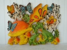 Homco 1960's Wall Hanging Frogs Butterflies Mushrooms Retro Groovy Mod Yellow Orange Green Turquoise on Etsy, $12.50